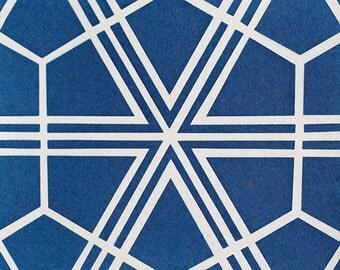 Handmade Cyanotype - Spanish Moroccan Symmetrical Cement Pattern