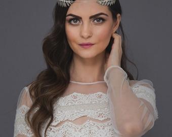 Silver leaf bridal headband,Greek goddess wedding crown,Laurel pearls Tiara,Gold Leaf forehead Headband,Leaf Headpiece,twig crown,twig halo