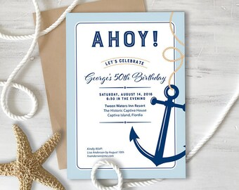 Birthday Invitation, Nautical, Anchor, 40th, 50th, Custom Event, Printable, 5 x 7 Inches, DIY, Nautical 17