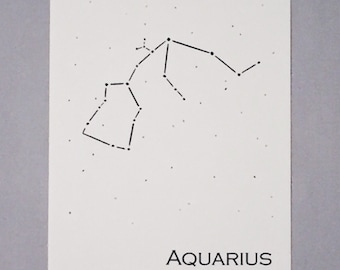 Aquarius Constellation Zodiac Sign Art Print 5x7 / Pen and Ink Print Reproduction / Wall Art / Home Decor / January - February Birthday