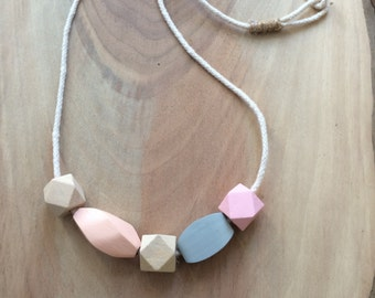 Pastel Wooden Bead & Rope Necklace
