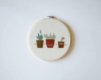 Little Pots all in a row - Potted Succulent Embroidery