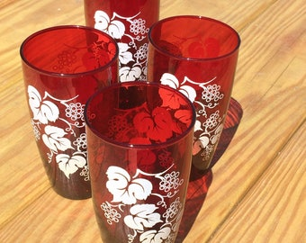 Ruby Red 1950's Drinking Glasses by Anchor Hocking, Vintage Retro Ruby Tumblers w White Grapevine Design, Set of 4 Anchorglass 1960's