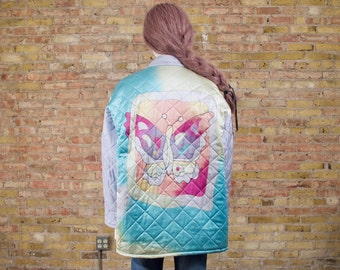 silk quilted jacket / oversized jacket / 90s quilted jacket / pastel jacket / boxy jacket / 90s butterfly jacket