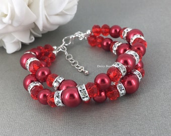 Christmas Jewelry Idea Pearl Jewelry Red Bracelet Bridesmaids Bracelet Christmas Bracelet Valentine's Day Gift for Her Custom Jewelry