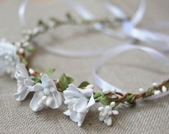 Wedding hair garland white wedding headpiece flower crown flower girl crown flower headband head piece wedding wreath rustic wedding crown