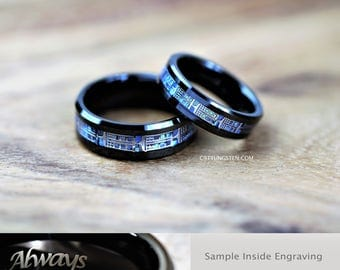 6MM  OR  8MM Doctor Who Inspired Tardis Blue Inlay Tungsten Wedding Ring,  Free Good Ideas