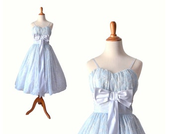 1950s Prom Dress Baby Blue Prom Dress  Vintage Prom Dress 50s Prom Dress 1950s Dress, 50s Dress Tulle Party Dress Blue Formal Dress Small XS