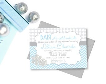Baby it's cold outside Baby Shower, Snowflake Baby Shower Invitation, Digital Invitation, Printable Invitation, Blue and Silver, Editable