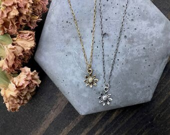 Gold Daisy Necklace - Flower Necklace - Flower Jewelry - Flower Charm Necklace - Gift for Her - Bridesmaid Gift - Personalized Jewelry