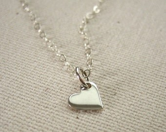 Sterling Silver Tiny Heart Necklace - Love Jewelry