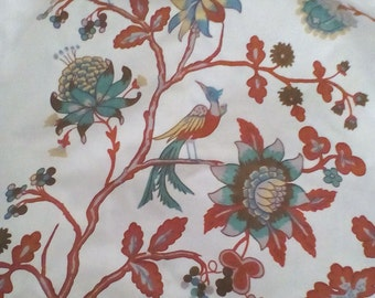 Vintage Laura Ashley bird toile fabric curtains ~ 1980's Chinoiserie Oriental curtains