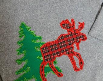 Moose Tree Winter Silhouette Applique Design for Embroidery Machine Monogram Deer Elk Plaid