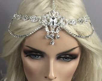 Rhinestone Head Chain, Boho/Halo Vintage Wedding Headband, Customizable, Backside Or Forehead  Head Chain,