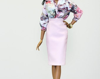 ELENPRIV pink  leather skirt for Fashion royalty FR16 Tulabelle, Poppy Parker Fashion Teen and similar body size dolls.