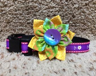 Purple and Pink Daisy Dog Collar, flower dog Collar, colorful collar, Daisy dog collar , collars, Summer dog collar,