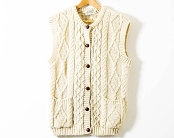 Vintage Pure Wool Arran Knit  -  Size Medium -  Wool Knitted Waistcoat Sweater  -  Made in Ireland  - Cable Knit -  Retro  -  Cardigan