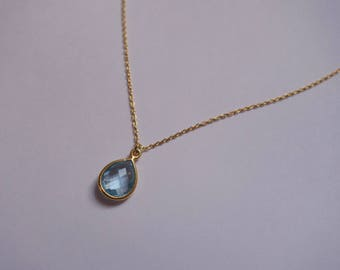 Sky Blue Topaz Teardrop Necklace, Gold Vermeil, Trace Chain, Bezet Set Precious Stone
