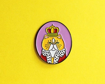 Cat King, enamel pin - badge - lapel pin