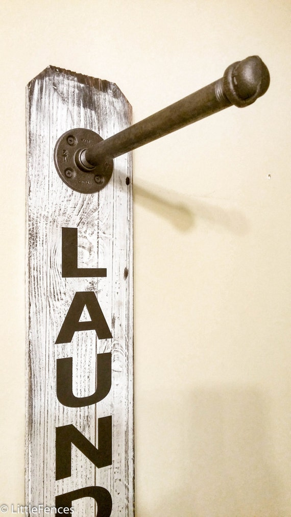 Laundry Room Sign Industrial Pipe Clothing Rack Laundry Room