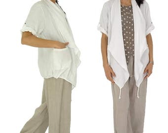 HX100W ladies jacket short sleeve Cardigan Verschlusslos waterfall collar oversize linen layered look Gr. 40 42 44 46 white