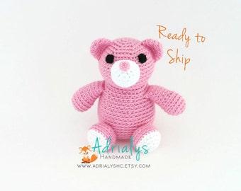 Valentines Day Crochet Bear- Stuffed Bear- Woodland Nursery- Woodland Animals- Forest Animals- Handmade Bear- Crochet Toy- Ready to Ship