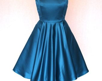 Choice of Colour, Made to Order, fifties style duchess satin boat neck, circle swing occasion dress, with pockets, available sizes UK 6-24