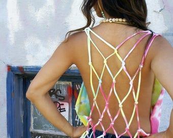 Pastel Tie Dye Spiral Lattice back fringe Tshirt tee top black Recycled Upcycled cut sexy halter hippie Bohemian Eco Boho festival shirt