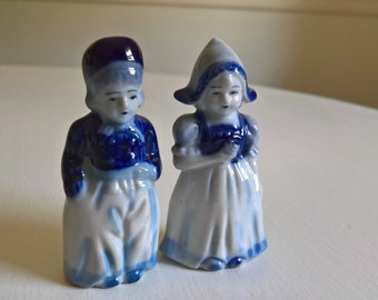 Vintage Dutch Boy & Girl Ceramic Figurines --- European Danish Cottage Home Decor --- Brother Sister Twins Curio Statue Simple Classic Chic