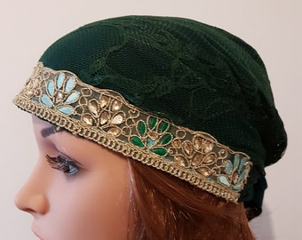 Dark Green Tichel, Ethnic Head Scarf, Snood, Chemo Cap, Ethnic Head Wrap, Headscarves, Hair Covering, Headwear, Women's Hats