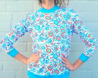 Colorful pullover, turquoise sweater, geometric vintage shirt, women jumper, orange long sleeve swetshirt, 90s