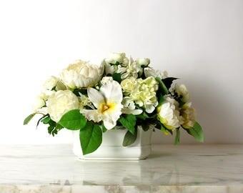 Silk Floral Arrangement in White Italian Cache Pot, Faux Floral, Centerpiece, Table Bouquet, White, Cream, Hydrangea, Orchid, Peony
