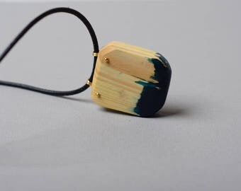 Wood and resin necklace, teal resin pendant, colorful jewelry, nature inspired, unique necklace, anniversary gift