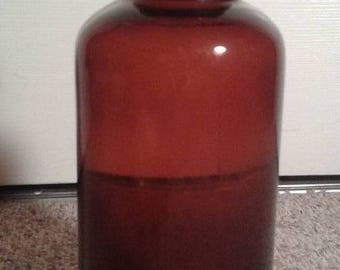 Vintage Amber Glass Apothecary Bottle Medicinal Collectible Drugstore Home Decor