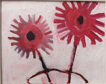 Flower Painting Original Art Abstract Blooms Pink Red Naive Still Life Canvas Paint Small