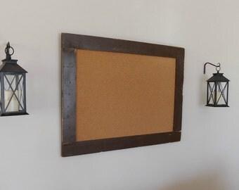 FRAMED BULLETIN BOARD - Cork Board - Extra Large - Distressed, Vintage Look Wood - Shown in Dark Chocolate - 30 x 40 Choose Color