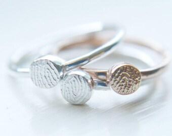 Fingerprint jewellery- Fingerprint ring- Memorial jewellery-Fingerprint stacking ring- Minimalist ring- Personalised jewellery- Gift for her