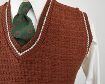 Vintage 60s/70s Brick Red Sweater Vest by Coordinate Size Large