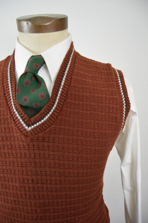 Vintage 60s/70s Brick Red Sweater Vest by Coordinate Size