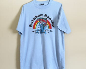 80s 'rainbow rancho' tee//80s trout fishing shirt//80s California vintage//whitewater California t shirt