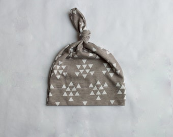 Grey and White Triangle Baby Top Knot Hat