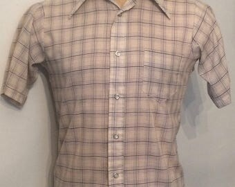 Vintage MENS 70s The County Seat short sleeve plaid shirt, size M