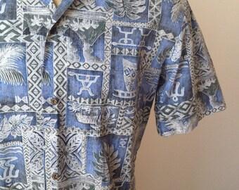 Vintage MENS Royal Creations blue, black, grey & white short sleeve Hawaiian shirt, made in Hawaii