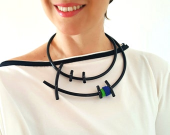 Statement necklace, Popular necklace, Contemporary necklace, Contemporary jewelry, Bib necklace, Asymmetric jewelry - Modern necklace.