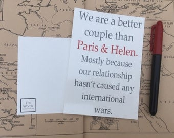 Greek Mythology Postcard Valentine's | We're a Better Couple than Paris and Helen | Art Print Gift for Classics Lover | LIMITED STOCK