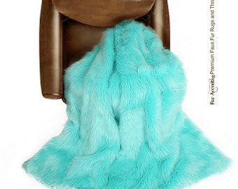 Plush Faux Fur Throw Blanket Bedspread - Super Soft - Turquoise Teal Mint Green - Fur Minky Cuddle Fur Lining - Fur Accents - USA
