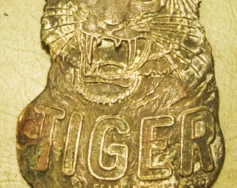 Vintage Tiger fob pendant/ Key chain/ Sears and Roebuck/ Stamped/ ornate metal medallion antique/ mens jewelry  LA