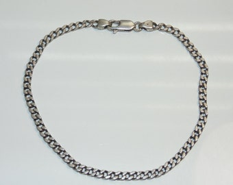 """BR776 Vintage Estate Delicate Sterling Silver Cable Chain Links Bracelet 6 grams 8.25"""" Long 925 Jewelry Jewellery For Her"""
