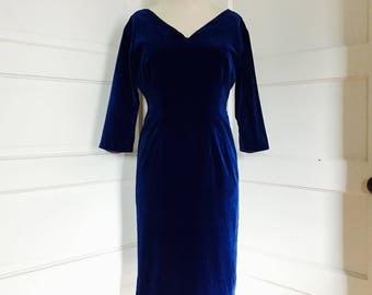 1950's Vintage Womens Royal Blue Velvet Wiggle Party Dress Medium Large 8 - 10