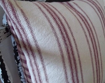 Grain Sack Pillow Cover w/ Zipper Closure - 12 Burgundy Stripe